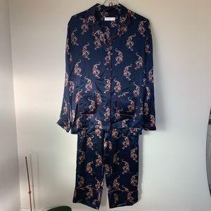 Sandro tiger print navy blue pajama style set 2